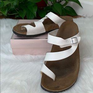 Birki's by Birkenstock White Fuji Toe Loop Sandals